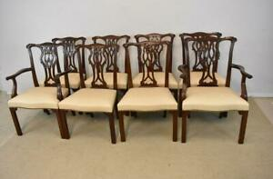 Eight Mahogany Chippendale Chairs By Baker Furniture Company Brass Nail Head
