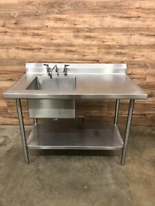 Select Stainless Steel Work Table With Sink 48 W X 30 D W Undershelf