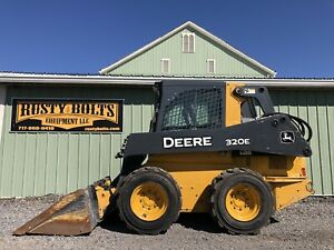 2014 John Deere 320e Skid Steer Loader Skidloader Enclosed Cab Heat ac 1465 Hrs