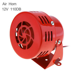 Electric Motor Ddiven Air Raid Siren Warning Car Truck 12v Red Metal Alarm Horn