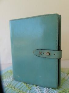 Compact 1 Rings Franklin Covey greenish blue Leather Planner Binder Organizer