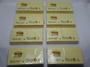Lot Of 8 Packs Of Pop up Notes Refills Lined 100 Shts 3 x3 4800 Labels