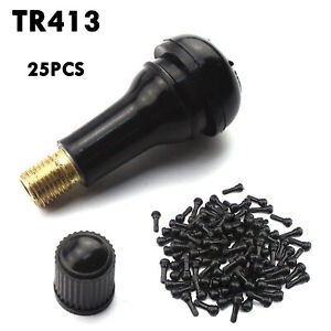 Lot 25pcs Tr 413 Snap In Rubber Tire Valve Stems Short Most Popular Valve Black