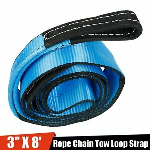 3 X 8 Winch Towing Pull Strap Tree Saver 4x4 Off Road Tow Rope Chain Blue