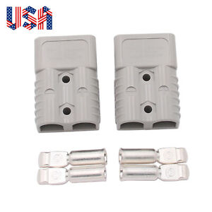 2x 175a Battery Quick Connect Disconnect Plug Winch Terminal Connector 600v 2awg