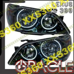 Oracle Halo 2x Headlights For Lexus Is300 Non Hid 01 05 White Led Black