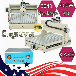 3 Axis Cnc 3040 Router Engraver Engraving Machine 3d Carving Milling Cutter 400w