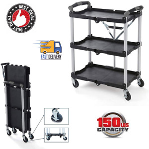 Portable Collapsible Pack n roll Folding Service Cart 150 Lbs Capacity Black