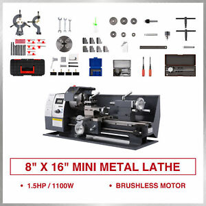 New 8 16 Mini Metal Lathe 1100w Metal Gear Digital Display 9 Turning Tools