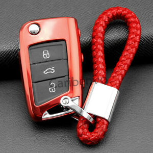 Scarlet Red Tpu Soft Car Key Chain Fob Cover For Volkswagen Mk7 Polo Golf Tiguan