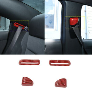 Red Carbon Fiber Seat Safety Belt Button Cover Trim For Dodge Charger 2011 2020