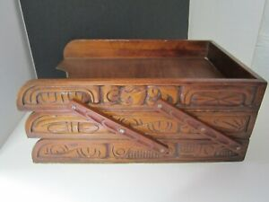 Rare Vintage Wood Carved 3 Tray Collapsible File Paper Desk Letter Organizer