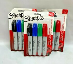 Set Of 3 Sharpie Permanent Markers Chisel Tip Assorted Ink Colors Pack Of 4 M