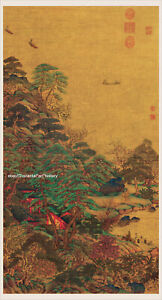 Chinese Old Painting Scroll Sailing Boats And A Mansion By Li Sixun Tang Dynasty