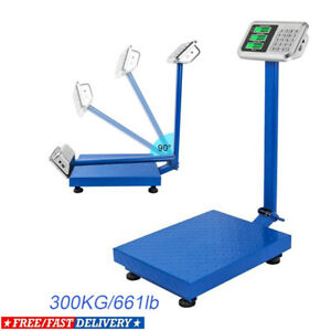 660lb Backlit Lcd Digital Floor Bench Scale Postal Platform Shipping 300kg Weigh