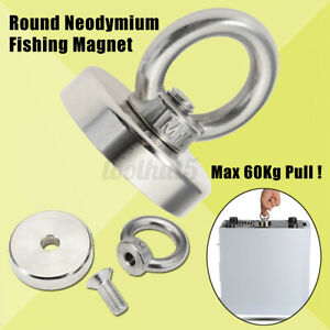 132lb Pulling Round Force Fishing Magnet Super Strong Neodymium Treasure I