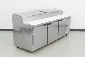 Used Beverage Air Dp93 3 Door Refrigerated Pizza Prep Table 576791