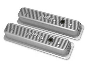Holley Finned Aluminum Valve Covers Natural Finish For Small Block Chevy Engines