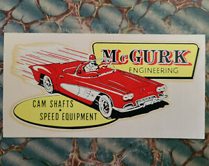 Original Vintage 1961 Mcgurk Water Decal Hot Rod Corvette Drag Racing Nhra Scta