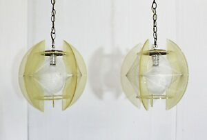 Pair Of Mid Century Modern Lucite Nylon String Hanging Chain Lamp Light Fixtures
