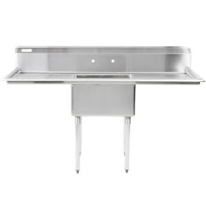 71 One Compartment Stainless Steel Restaurant Kitchen Sink With 2 Drainboards