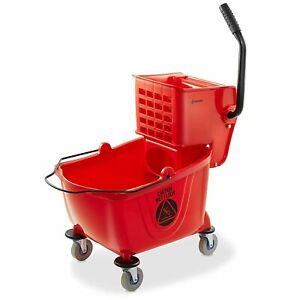 New Dryser Commercial Mop Bucket With Side Press Wringer 26 Quart Red