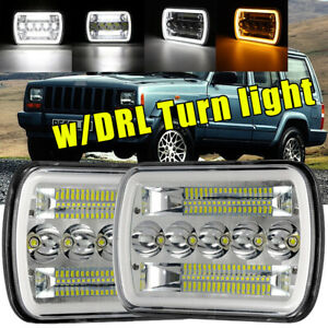 Pair 5x7 7x6 Led Headlight Hi lo Beam Drl For Jeep Cherokee Xj Yj Us