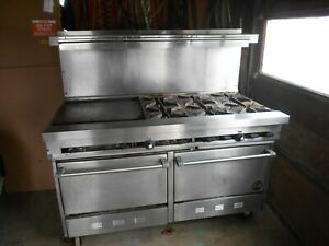 Used 60 Natural Gas Usa Range With 6 burners 24 Griddle 2 Standard
