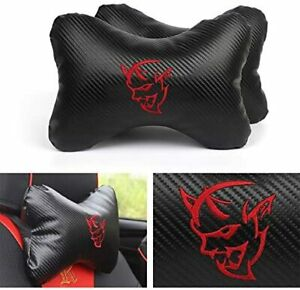2x Carbon Fiber Sport Car Seat Hellcat Demon Neck Pillow Foam Headrest Cushion