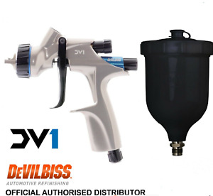 Devilbiss Dv1 Hvlp 1 2mm B Plus Spray Gun Complete With Black Cup 600ml Cv1new
