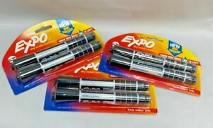 lot Of 3 Expo Dry Erase Markers With Ink Indicator Chisel Tip Black 2 Pack
