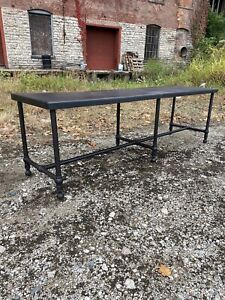 1930s Cast Iron Kitchen Island Workstation Industrial Counter Dining Table 6 Leg