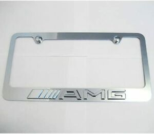 3d For Mercedes Benz Amg Logo Emblem Chrome License Plate Frame Cover W Cap