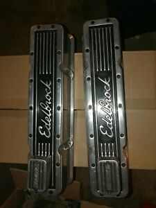 Edelbrock Elite Series Tall Valve Cover Set Small Block Chevy Sbc Breathers