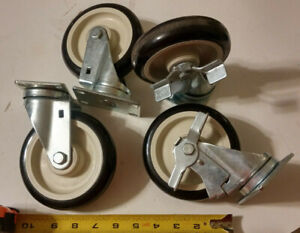 Lot 4 Cart Casters Polyurethane Poly Wheel 5 Lock Swivel Bolt Mounting Bracket