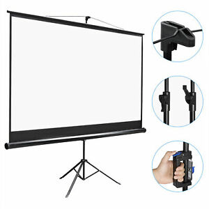 Projector Screen With Stand 100 Inch Portable Projection Screen 16 9 4k Hd