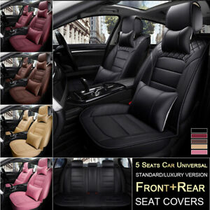 5 Seat Car Seat Cover Protector Interior Cushion Front Rear Full Set Pu Leather