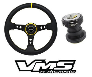 Vms Gold Steering Wheel Black Quick Release Hub Kit For Honda Civic Ek