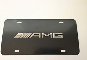 New For Mercedes Benz Amg License Plate Tag Cover Black Stainless Steel W Caps