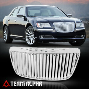 Fits 2011 2014 Chrysler 300 300c Vertical Bar Glossy Chrome Bumper Grille Grill