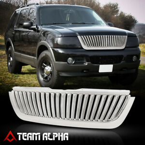 Fits 2002 2005 Ford Explore Vertical Bar Glossy Chrome Bumper Grille Vent Grill