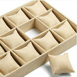 Gift Jewelry Display Showcase Holder Bracelet Watch Beige Linen Pillow Cushion