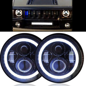 Led Halo Headlights Headlamp Lights Kit For Hummer H2 2003 2009 See Video