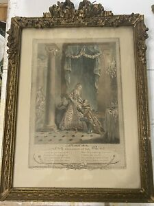 Antique French Period Barbola Gilt Frame Swags Roses Early Figural Engraving 2