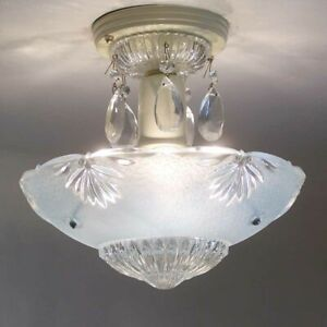 174b Vintage Antique Art Deco Glass Shade Ceiling Light Lamp Fixture Chandelier