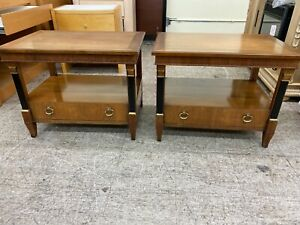 Baker Furniture French Empire Style Set Of Nightstands Tables