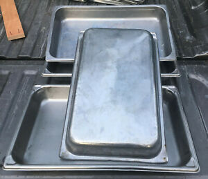 Lot 4 Stainless Steel 2 5 Deep Full Size Steam Table Pans 8819b