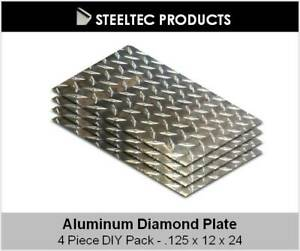 4 Pack 1 8 125 Aluminum Diamond Plate Sheet 12 X 24 5052