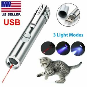 Usb Rechargeable Laser Pointer Pen 3 In 1 Cat Pet Toy Red Uv Flashlight Us Stock