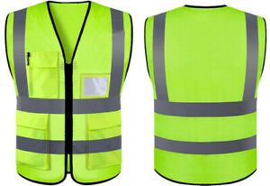 Safety Vest With Mesh fabric High Visibility Reflective Stripes Yellow W pockets